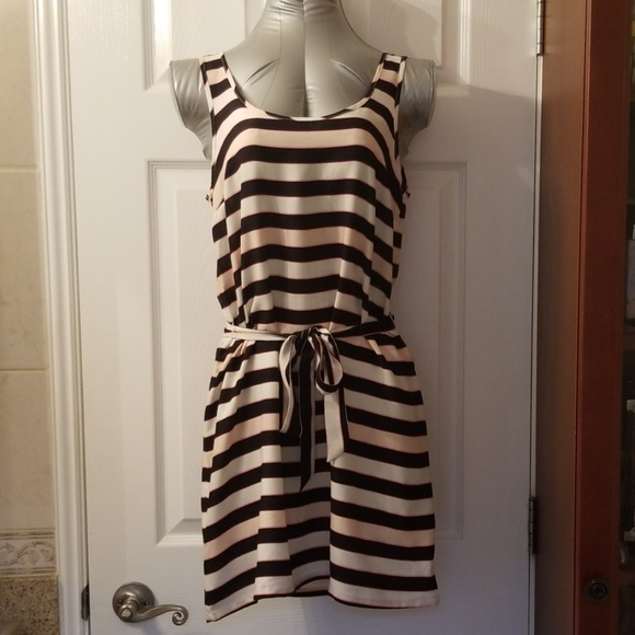 Divided Dresses & Skirts - Striped, Black and Beige Mini Dress (NWT)